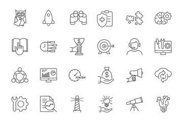 line startup icons set on white background