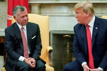 U.S. President Trump welcomes Jordan's King Abdullah at the White House in Washington