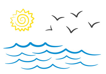 Sea landscape with sun and seagulls hand drawing design, stock vector illustration