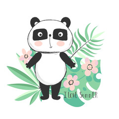 Cute panda bear with tropical leaves