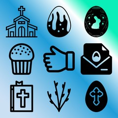 Vector icon set  about easter with 9 icons related to pray, education, horizontal, page and mail