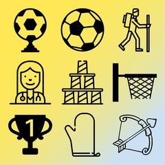 Vector icon set  about fitness and sport with 9 icons related to equipment, player, soccer, feather and backpack
