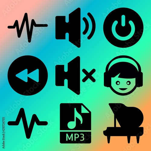 Vector Icon Set About Music Player With 9 Icons Related To Wallpaper Camera Tech
