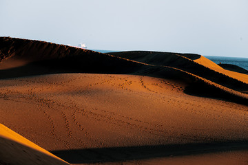 Maspalomas Dunes on Gran Canaria during sunset