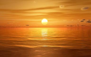 a beautiful golden sunset at the ocean