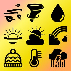 Vector icon set  about weather with 9 icons related to sand, cold, air, earth and freeze