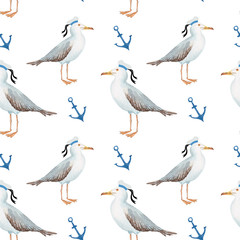 seamless pattern watercolor in marine style bird gull on white background with anchor