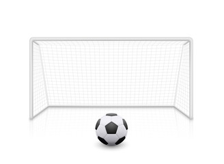 Vector realistic football soccer goal with grid. Football goal and soccer ball with shadow - stock vector.