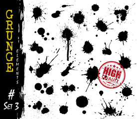 Set of grunge style blood or ink splatter and droplet . Elements vector