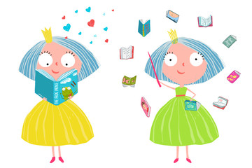 Fun colorful clip art with little girls reading stories. Vector cartoon.