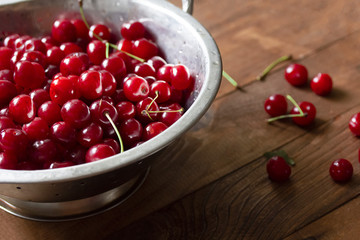 a bunch of juicy red ripe cherries in a saucepan