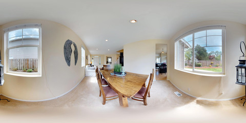 3d illustration spherical 360 degrees, a seamless panorama of dining area with wooden table.