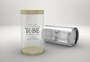 Clear Cylinder Packaging with Metal Caps Mockup