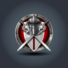 Medieval warrior Knight helm with shield and swords, wooden rounded badge icon. For Ui/Game.