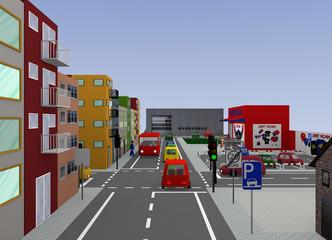 Stadtansicht mit Ampel-Kreuzung und Straßenschildern: 3d render