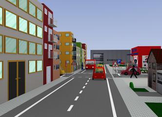 Stadtansicht mit belebter Kreuzung: Rechts vor Links. 3d render