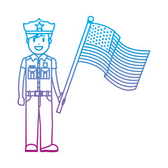 degraded line policeman with uniform and america usa flag
