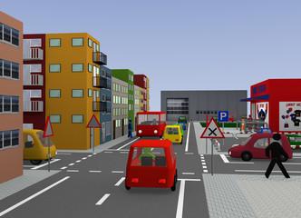 Stadtansicht mit Kreuzung: Rechts vor Links. 3d render