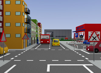 Kreuzung mit Straßenschildern: Rechts vor Links. 3d render