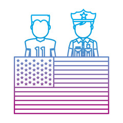 degraded line football player and policeman with uniform and usa flag