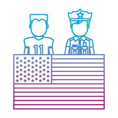 degraded line football player and policeman with uniform and usa flag