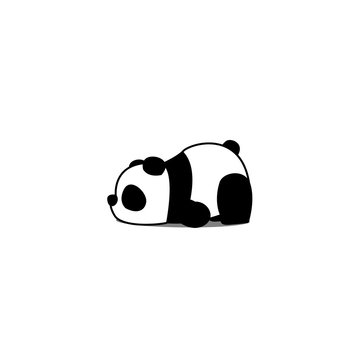 Lazy panda cartoon, vector illustration