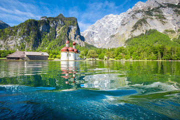 Lake Königssee with St. Bartholomä pilgrimage church in summer, Bavaria, Germany Wall mural