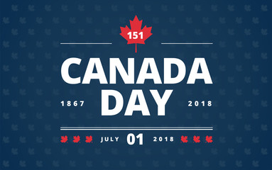 Canada Day blue background - Canada Day lettering design, red Canadian maple leaf, July 1st typography vector