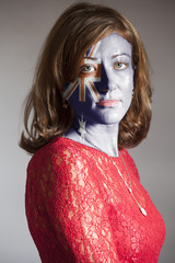 Portrait of woman with painted Australia flag