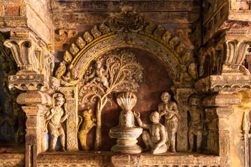 Ornamented wall at  Brihadeshwara Indian temple, Thanjavur, Tamil Nadu, India