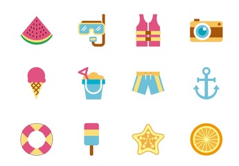 20 Colorful Beach Icons
