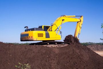 Close-up of a construction site excavator