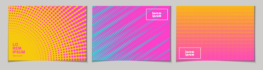 Set of horizontal abstract backgrounds with halftone pattern in neon colors. Collection of gradient textures with geometric ornament. Design template of flyer, banner, cover, poster. Vector  Fototapete
