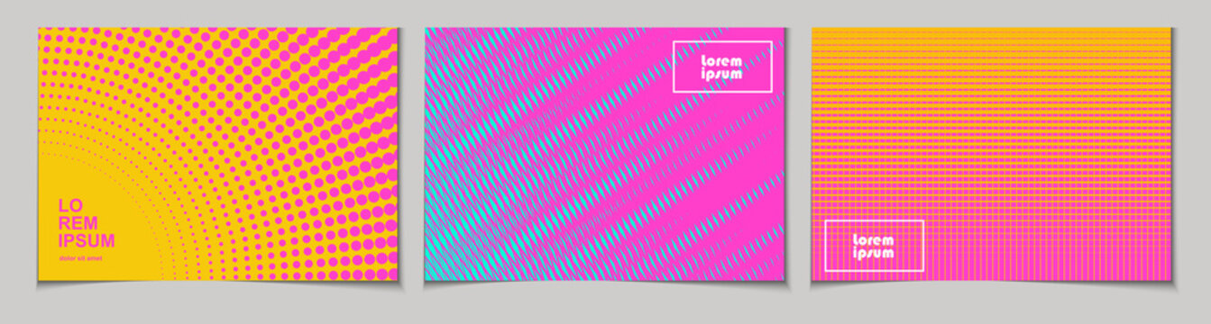 Set of horizontal abstract backgrounds with halftone pattern in neon colors. Collection of gradient textures with geometric ornament. Design template of flyer, banner, cover, poster. Vector
