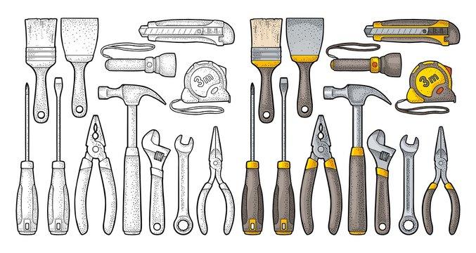 Set hardware tools. Vector engraving
