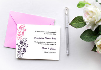 Wedding Gift Donation Card Layout with Floral Elements