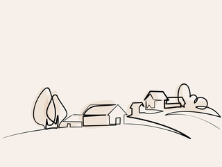 Continuous line drawing. Landscape with village on hill. Vector color illustration. Concept for logo, card, banner, poster, flyer Fototapete