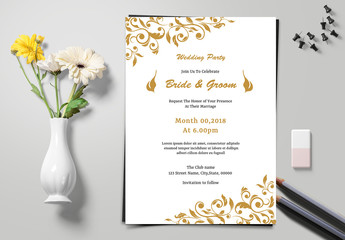 Wedding Invitation Layout with Swirling Leaves Elements