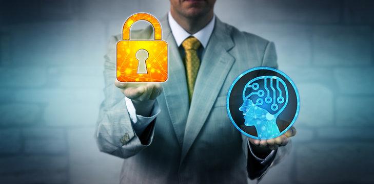 Consultant Raising Locked Padlock Above AI System