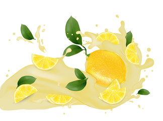 Juice splash 3d illustration with slices of lemon. Cream pouring wave yogurt packaging template. Realistic organic leaves healthy fruit  product. Vector