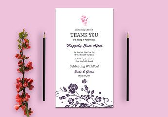 Wedding Thank You Card Layout with Pink and Purple Flowers