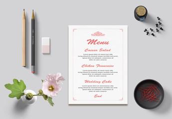 Wedding Menu Card Layout with Pink Ornamental Elements