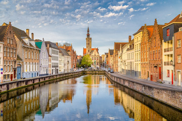 Canvas Prints Bridges Spiegelrei canal at sunrise, Brugge, Flanders, Belgium