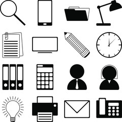 Vector pictograms connected with office/ business topics - 16 illustrations.