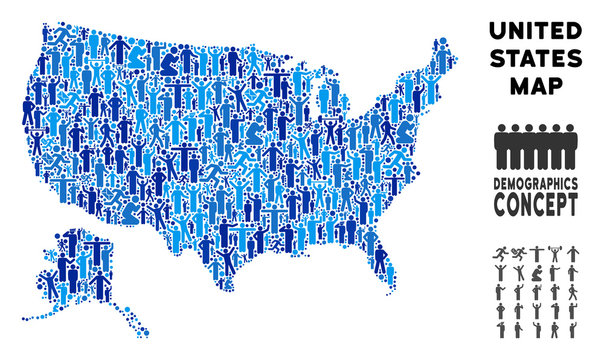 Vector population USA with Alaska map. Demography composition of USA with Alaska map designed of people with variable positions. Demographic map in blue variations.
