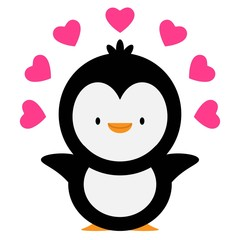 penguin with a hearts