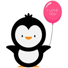 penguin with a air balloon and text  i love you!