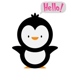 penguin with text Hello!