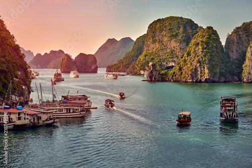 Ha Long Bay , Vietnam-29 November 2014:Tourist Junks in