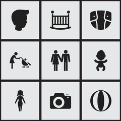 Set of 9 editable relatives icons. Includes symbols such as baby bed, mother, beloveds and more. Can be used for web, mobile, UI and infographic design.